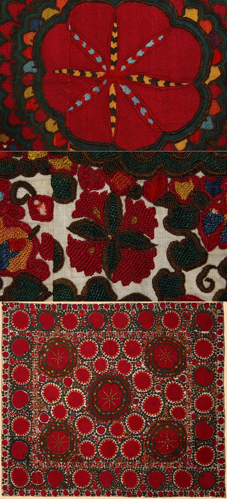 Antique Central Asian Suzani. Silk Embroidery on Cotton Circa 1870