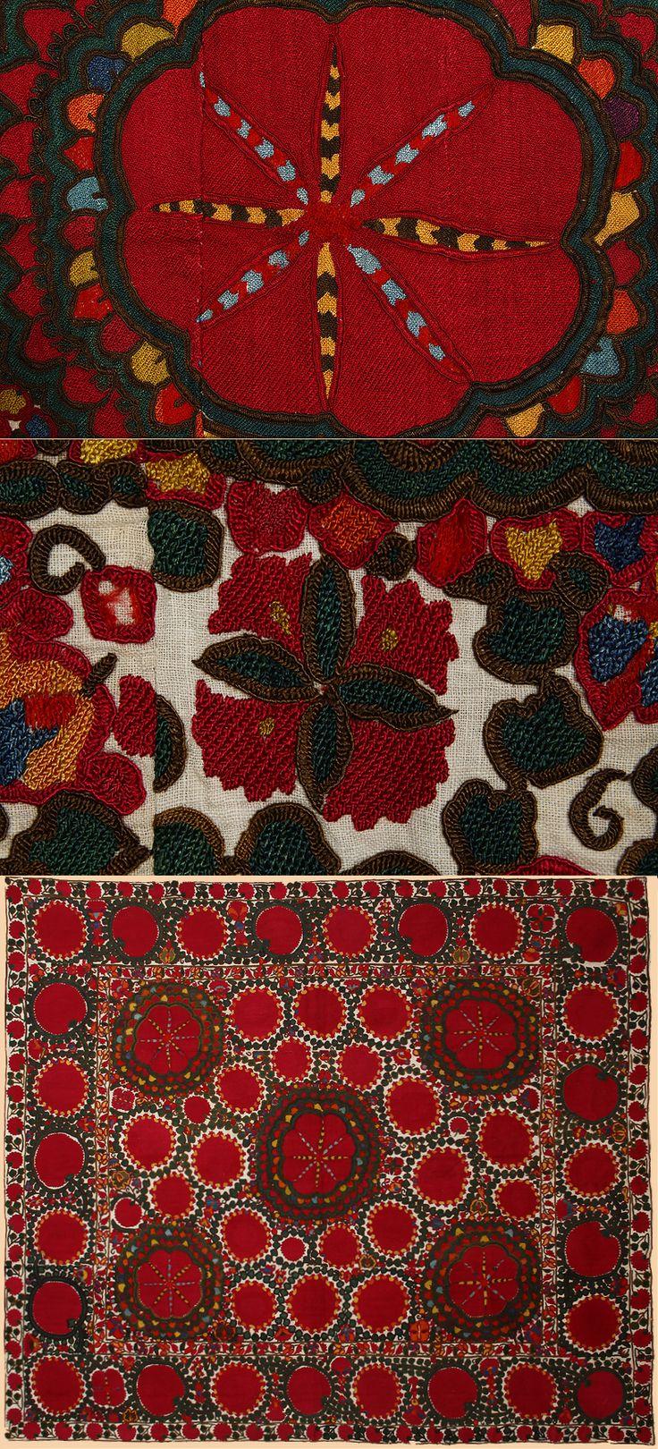 "Antique Central Asian Suzani. Silk Embroidery on Cotton, Circa 1870. Size 87"" x 78"", 221 x 198 cm"