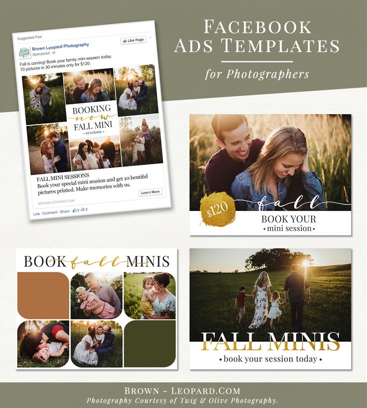 Facebook Advertisement Bundle for Photographers - fall theme. Great marketing tool to promote your photography business on social media, boost your service, offers & special sales. Customizable layered psd files for Adobe Photoshop and Photoshop Elements - super easy to use. Digital design templates for creative photographers from Brown Leopard.