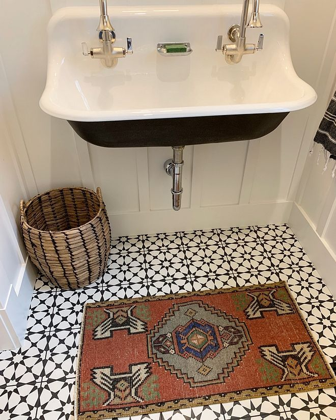 boho bathroom with cement tile Powder room with ce…