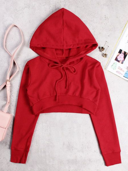 Active Round Neck Cut Out Drawstring Waist Sports Hoodies in Red