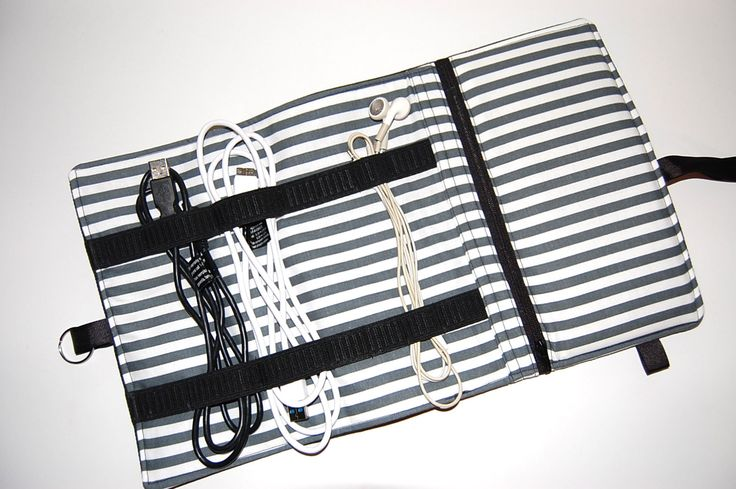 Charger Holder, Cord Storage, Charger Travel Bag, Cord Caddy, Charger Keeper, Cord Holder, Cord Pouch, Power Cord Bag, Black Denim by Sewmuchfunstuff on Etsy