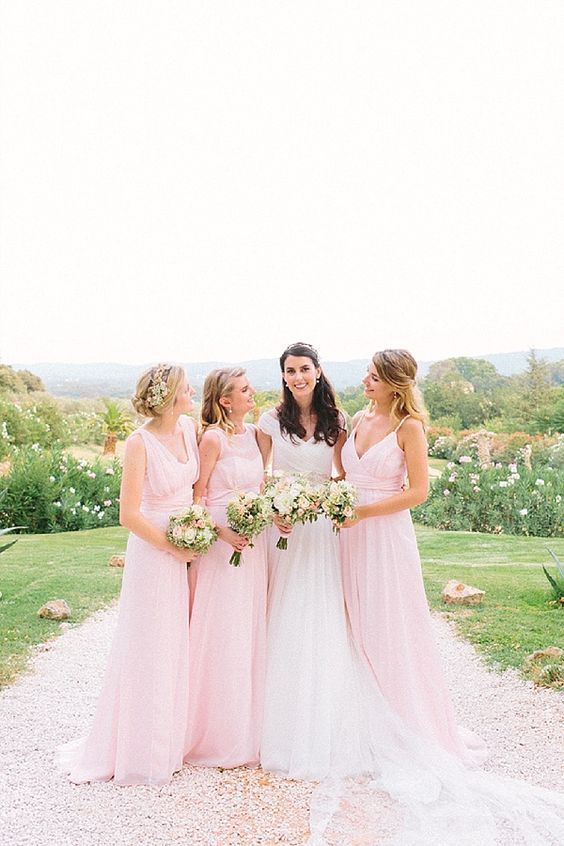 Blush floaty bridesmaid dresses | Image by Maya Marechal Photography