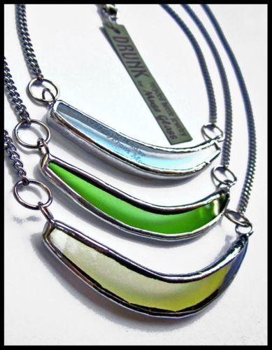 Eco Friendly Drunk Reclaimed Wine Bottle Curve Necklace 3 Colors | eBay