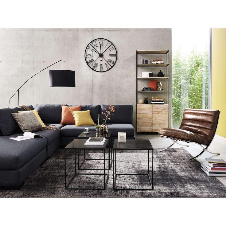 Metalen klok, zwart, industriële stijl, diameter 90 cm, ALTON | Maisons du Monde