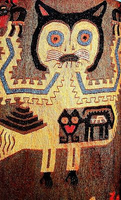 "Detail of a Pre Inca Textile (Paracas - Peru). About 300AD.(Source: from cosmicportal) Re-pinned by Elizabeth VanBuskirk.This textile is full of symbolism including the serrated edges of the cat, seen in earlier art from the powerful Chavin culture about 100AD or earlier. The cat is probably a re-representation of the earlier fearful jungle cats of Chavin. The interior ""cat"" may be wearing a mask as did the people of the time when they gyrated in ritual dance."