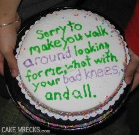 Cake Wrecks - Home - 10 Oddly Specific Apology Cakes