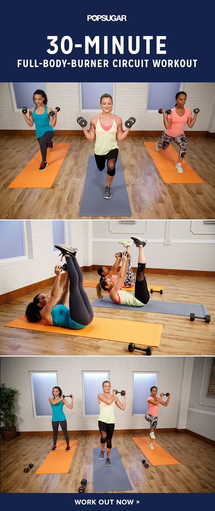 You will keep moving throughout the 30 minutes using medium weights to burn serious calories while building metabolism-boosting muscles.