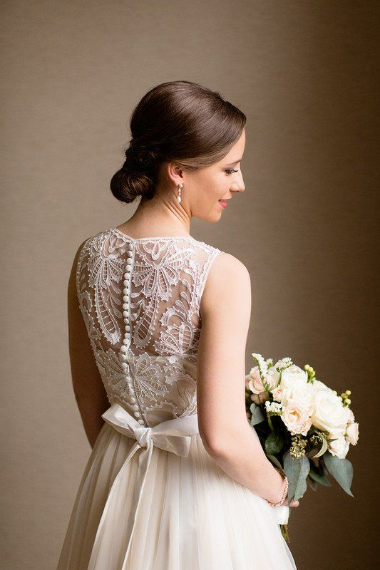 A Line Wedding Dress With Illusion Lace Embellished Back And
