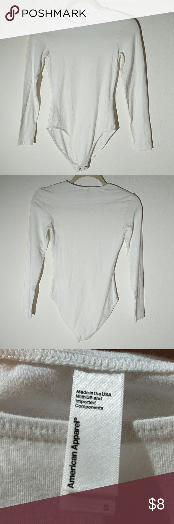 American apparel white long sleeve bodysuit Size small  No snags or stains. American Apparel Other