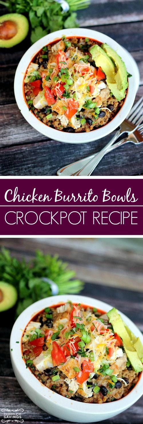 Crockpot Chicken Burrito Bowls Recipe! | http://www.passionforsavings.com/2015/07/crockpot-chicken-burrito-bowls-recipe/