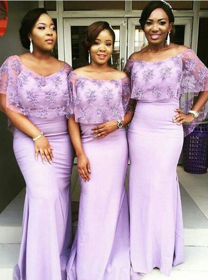 Sheath Off The Shoulder Lavender Bridesmaid Dress With Lace Wraps African Bridesmaid Dresses Satin Bridesmaid Dresses Tulle Bridesmaid Dress