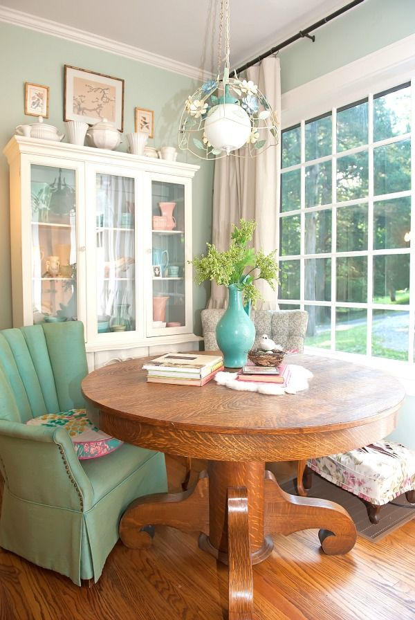 I already have this exact table!  Maybe in teh sun room?   The Decorologist kitchen - part of a colorful house tour! eclecticallyvintage.com