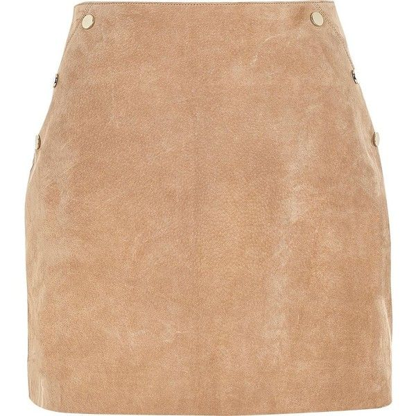 River Island Tan suede A-line mini skirt (£69) ❤ liked on Polyvore featuring skirts, mini skirts, tan, women, short mini skirts, suede skirt, mini skirt, a-line skirts and suede a line mini skirt