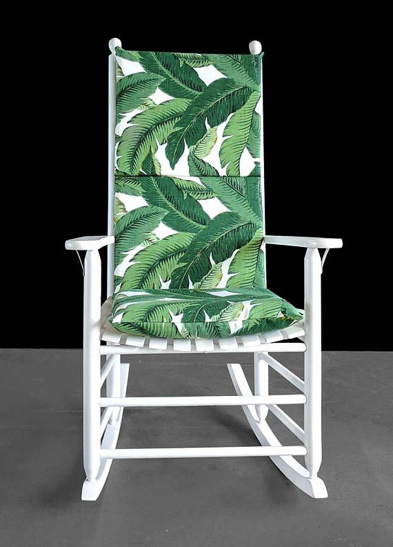 Outdoor Tropical Rocking Chair Cover Green Palm Trees Seat