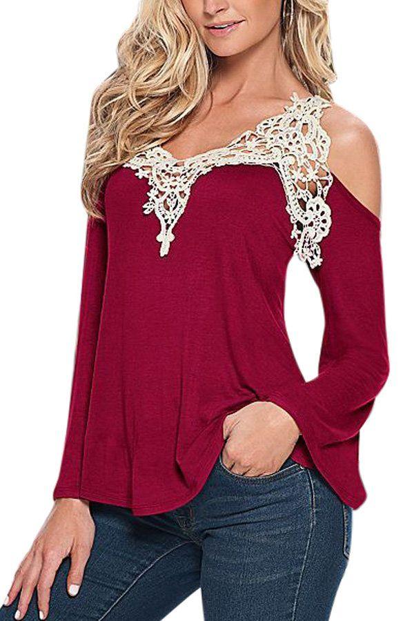 Cold Shoulder Crochet Lace Blouse -YOINS