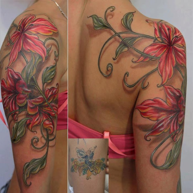 See more Realistic 3D flower tattoos on shoulder and arms
