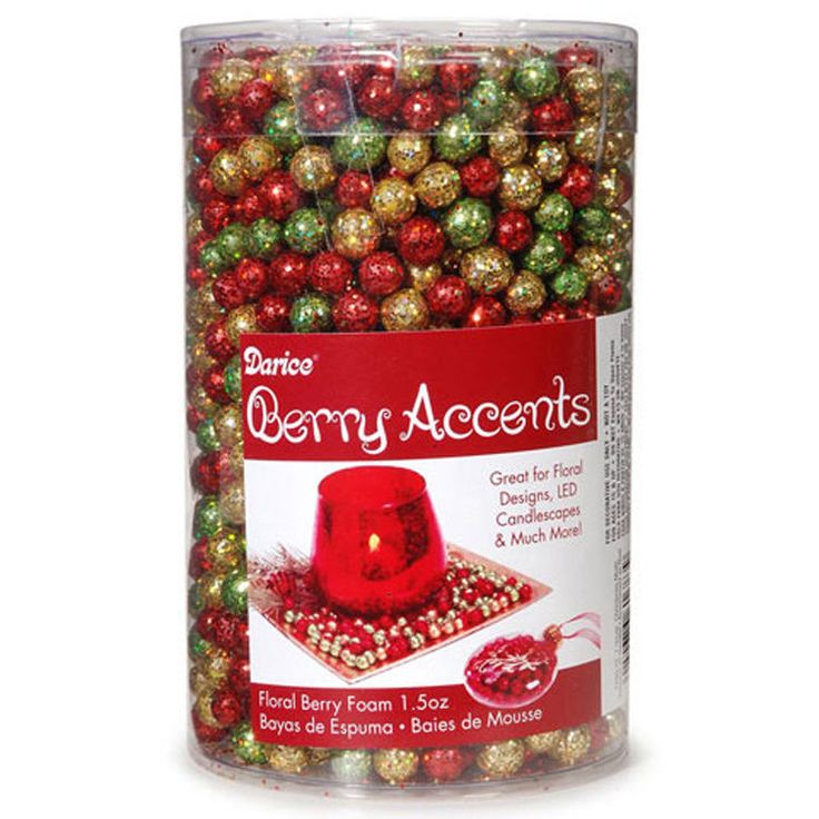 Darice Christmas Decor - Foam Glitter Berry Balls Red Gold Green 7-9Mm #1189-72