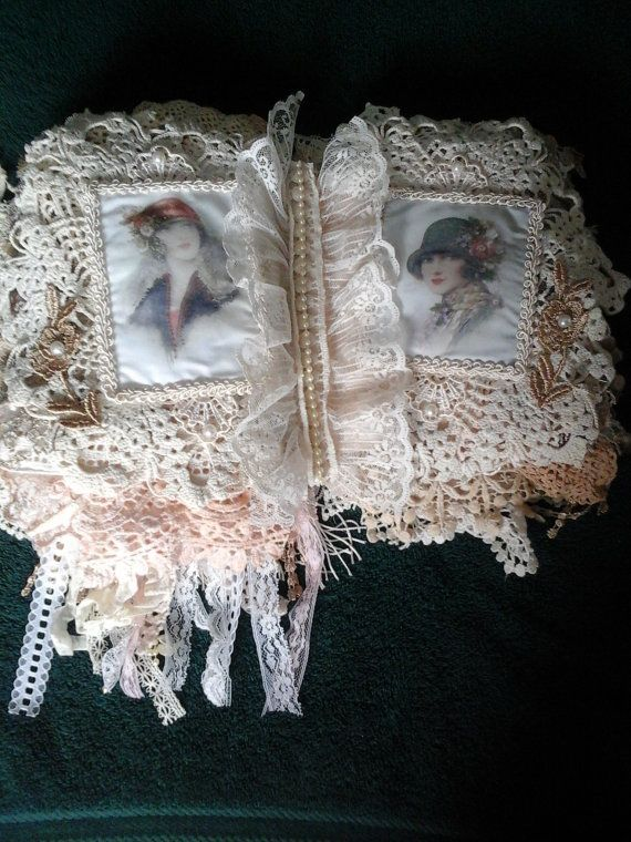 Victorian Ladies fabric and lace book by AuntNinysCreations