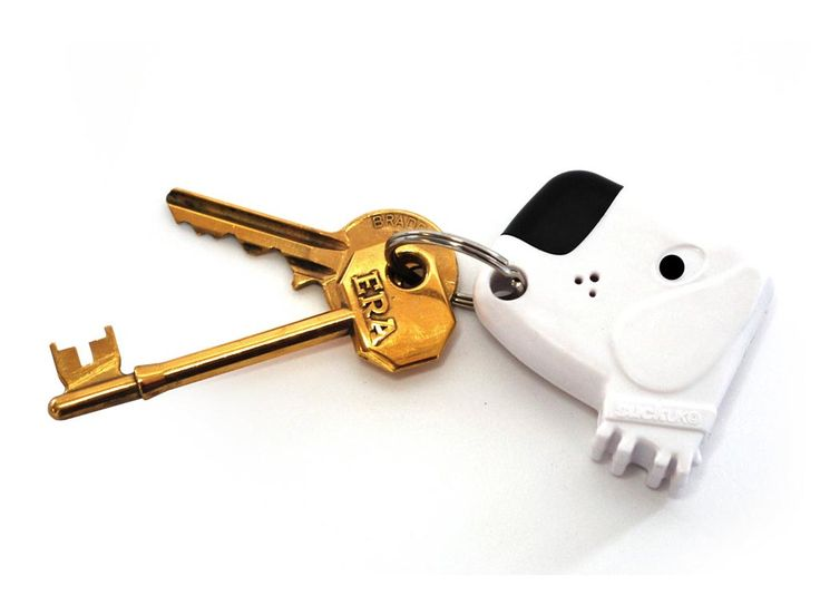Fetch My Keys! If you lose your keys, just whistle, and the dog barks!!! Really I have been talking about inventing something like this for years!
