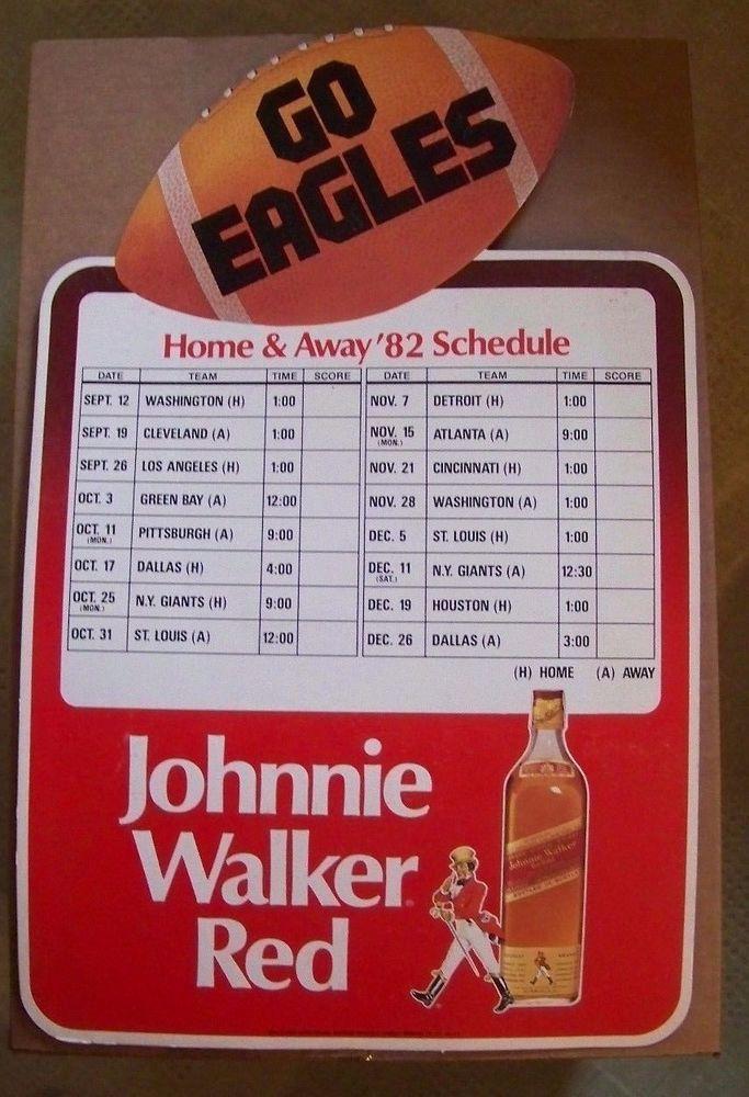 VERY RARE! JOHNNIE WALKER RED SIGN + 1982 PHILADELPHIA EAGLES SCHEDULE + NICE! #PhiladelphiaEagles