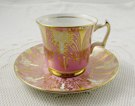 Royal Chelsea Tea Cup and Saucer, Pink and Gold, Vintage Bone China