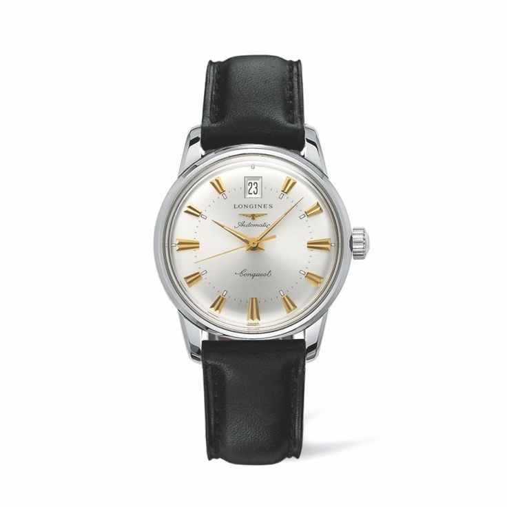 L16114752 Ανδρικό αυτόματο ρολόι LONGINES Heritage Collection σε retro εμφάνιση,με μαύρο λουρί,ασημί καντράν & ημερομηνία   Ρολόγια ΤΣΑΛΔΑΡΗΣ Χαλάνδρι #heritage #longines #ρολόγια