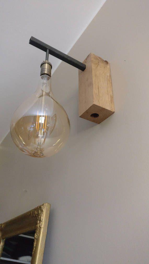 In Applique Industrial 2019 Oak And Steel Edison Bulb Wall 5Lq3ARSjc4