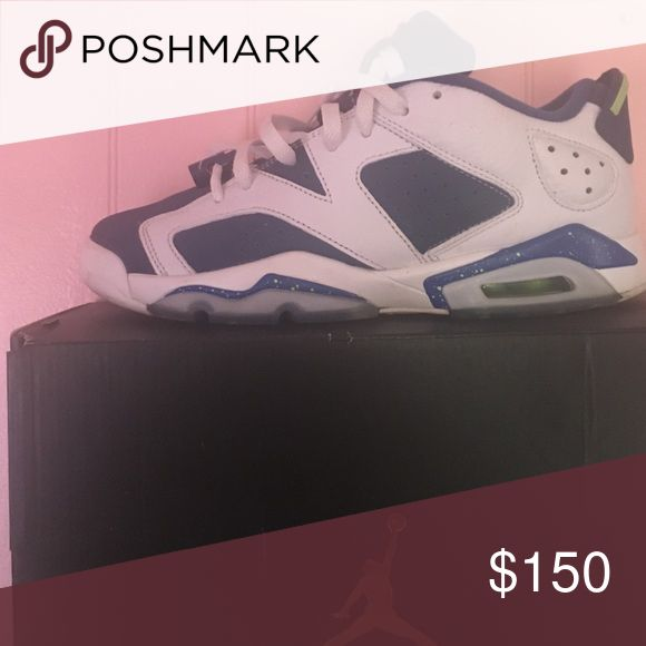 """Air Jordan 6 retro low """"Seahawks"""" size 7y They are navy blue/green, and white Jordan Shoes Sneakers"""