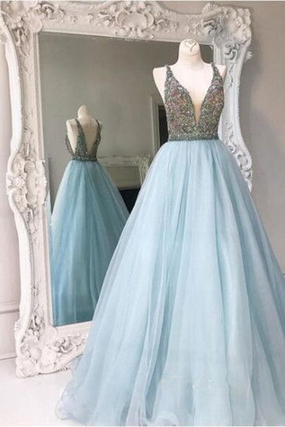 Sequins prom dress, ball gown, cute blue tulle long prom dress with straps: