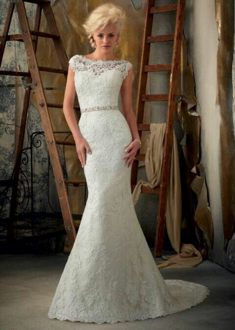 Beautiful lace fitted mori lee wedding dress my dream for Beautiful fitted wedding dresses
