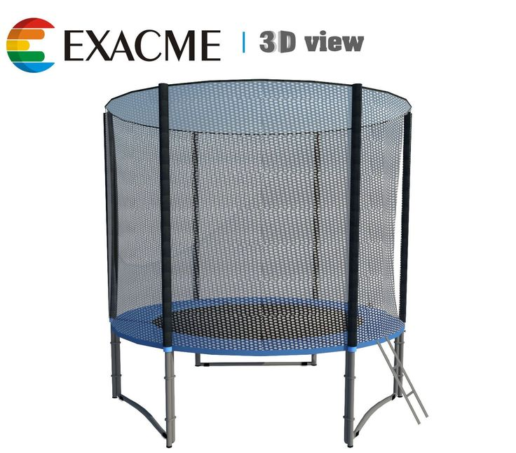 ExacMe 8ft Trampoline w/ Safety Pad and Enclosure Net All-in-one Combo Set