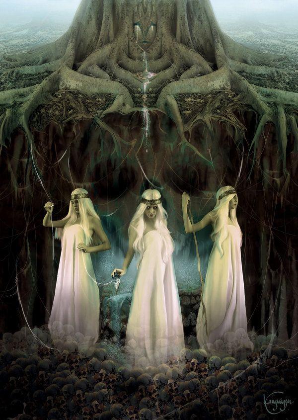 Las Nornas eran unos espíritus femeninos que vivían bajo el árbol Yggdrasil (el árbol del mundo en el centro del cosmos). Tejían los tapices de los destinos, de forma que cada hilo es la vida de una persona y la longitud de este es la duración de la vida de la persona. Las más conocidas son: Urd (pasado), Verdandi (presente) y Skuld (futuro).