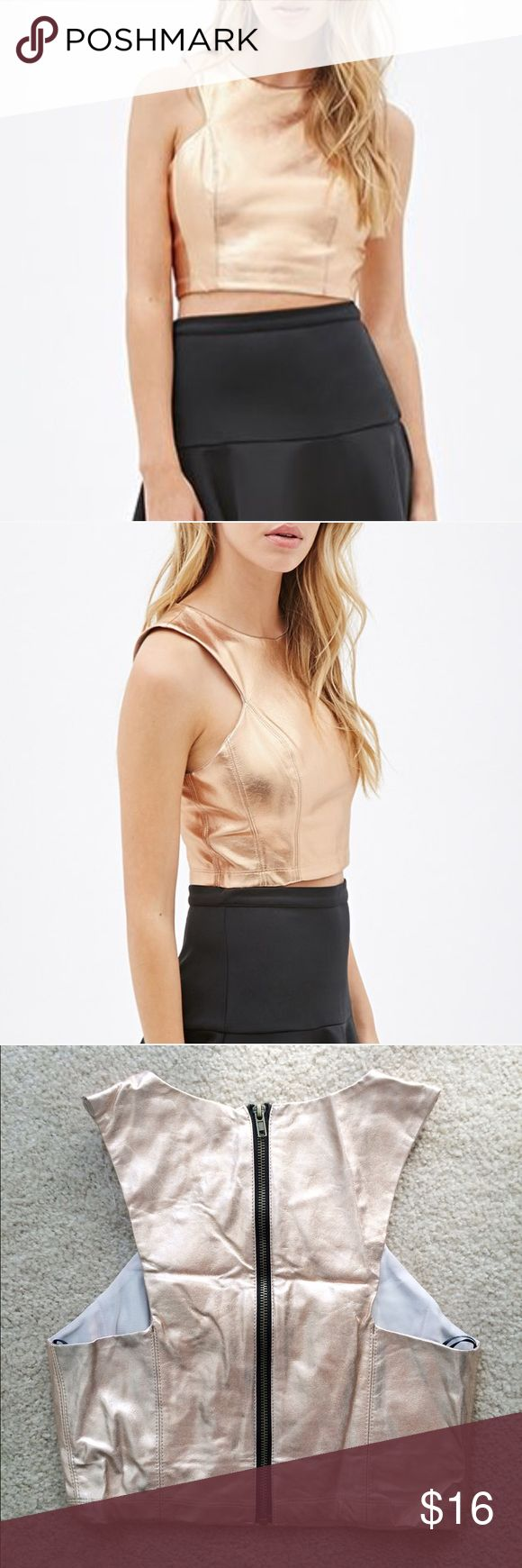 Metallic Crop Top in Rose Gold An eye-catching crop top in a brilliant rose gold metallic coated fabric. High cut racer front style is very trendy this year! Zip up the back. Never worn. Stock photos from Forever 21. Forever 21 Tops Crop Tops