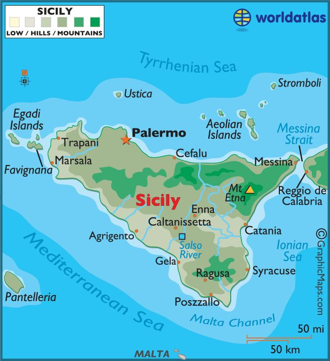 Sicily: is the largest island in the Mediterranean Sea, along with surrounding minor islands.