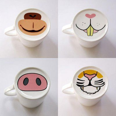 "Animal face mugs. Buy 99 cents store mugs and have kids ""paint"" faces on them with sharpie"