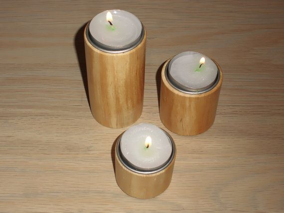 Handturned Wood Candle Holders in Elm Wood - Candle Holders Danish Wood - Tea Light Candle Holders - Beeswax Finish - Wood Home Decor