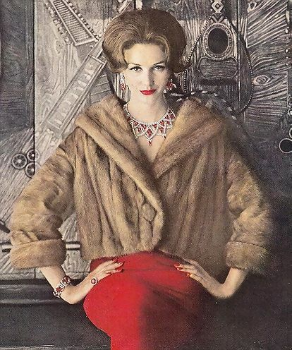 Lucinda Hollingsworth, 1959. Vintage fur . #1950's #fashion #fur