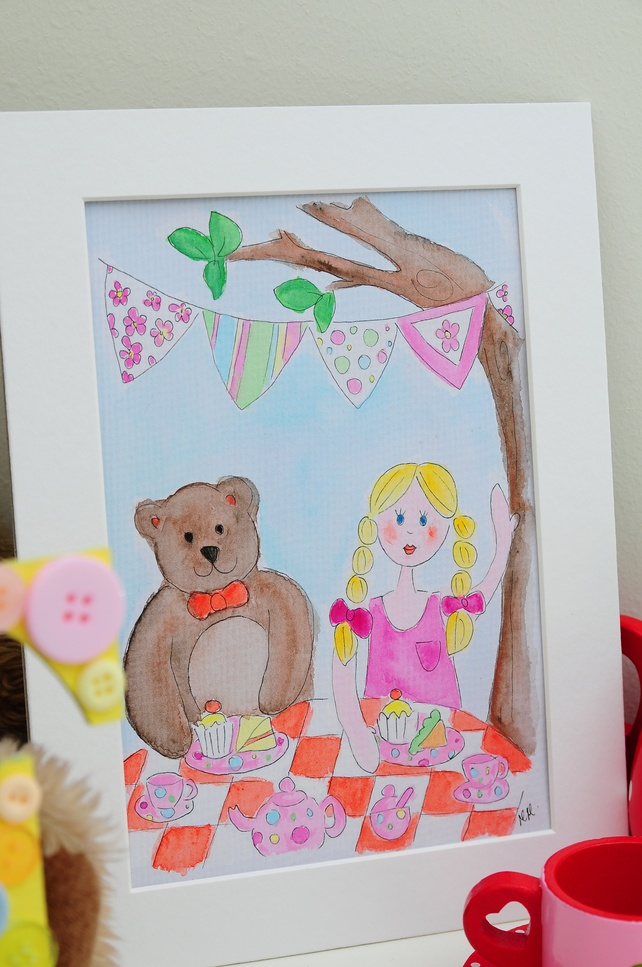 Children's Garden Tea Party Original Watercolour - Folksy
