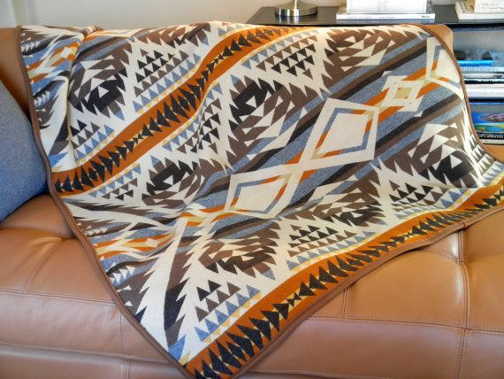 Navajo blanket,  Pendleton wool, summer picnic, camp blanket, dorm decor, natures colors of the earth 63 x 45. $175.00, via Etsy.