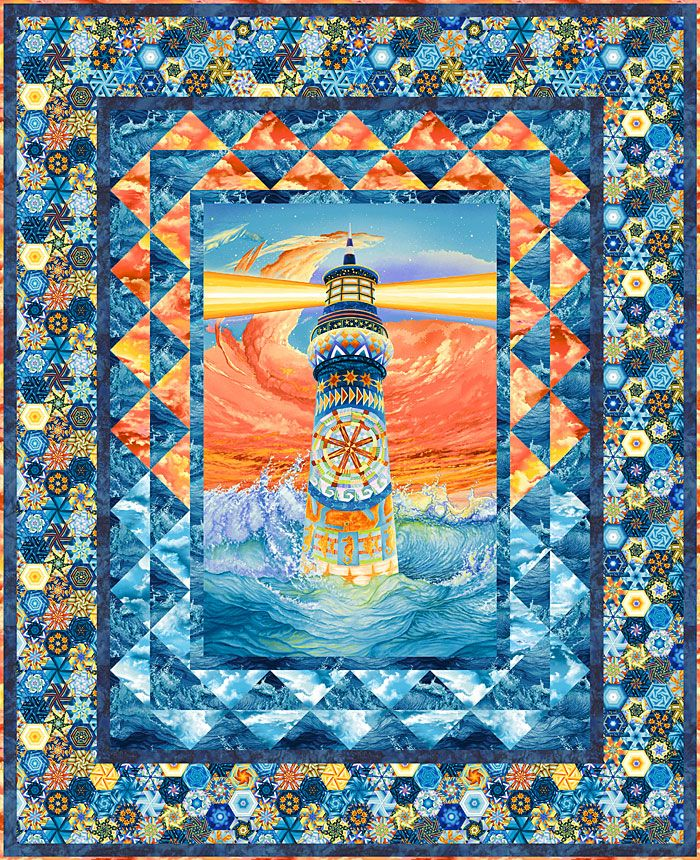 Free Equilter Pattern Lighthouse Pattern 53 X 64 In 2020 Panel Quilt Patterns Fabric Panel Quilts Art Quilts