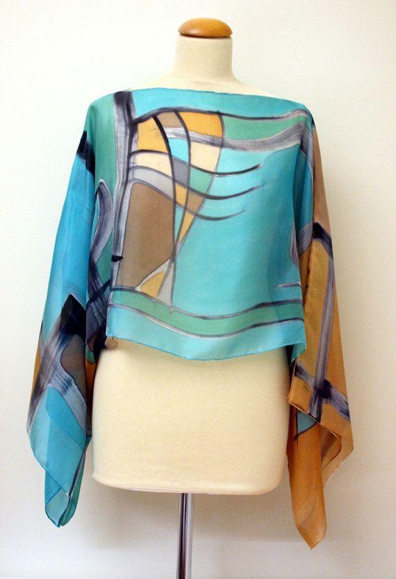 Blusa de seda pintada a mano - Top para boda- Fular para boda - Diseño exclusivo - Pieza única