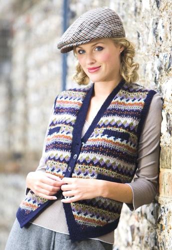 Navy Spot Waistcoat by Sasha Kagan  knitting kit and garment available:http://www.sashakagan.co.uk/designs/waistcoats_01.html