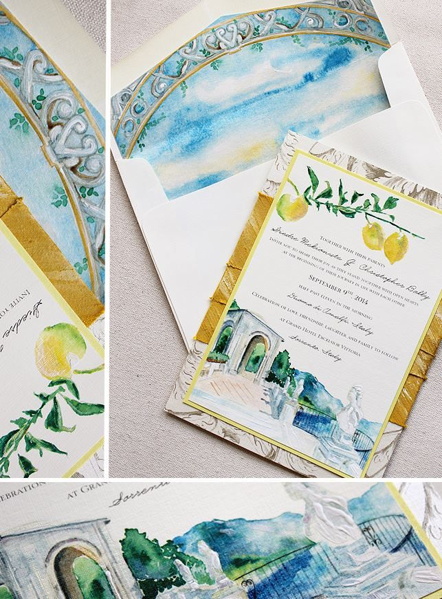 Ivory, Yellow, and Blue Watercolor Italian Landscape Wedding Invitations, Hand Painted Wedding Stationery