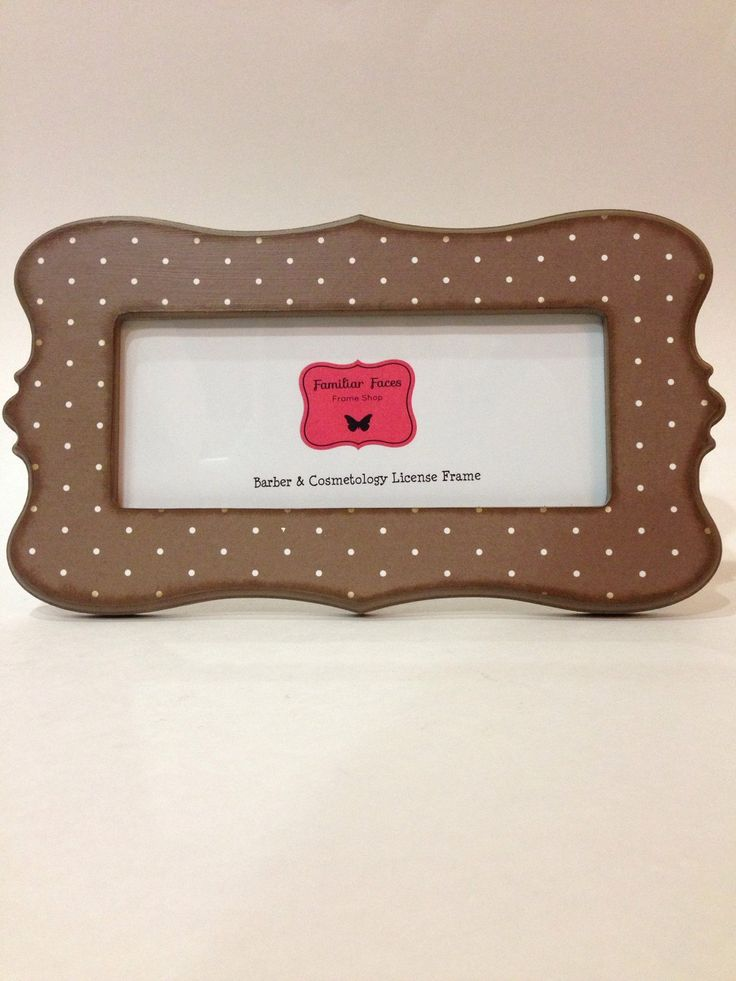 barber cosmetology license frame in brown with white polka dots fits 8 12 x 3 58 business certification