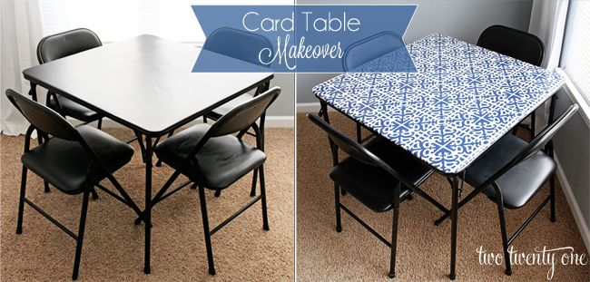 twotwentyone.net -- card table makeover before and after -- going to redo or card table