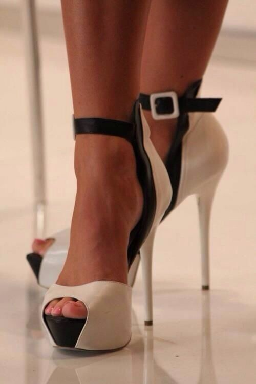 Black And White Strappy Heels