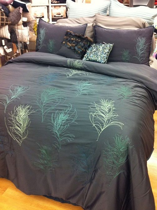 details about nicole miller feathers comforter set cal king blue peacock feather pillows