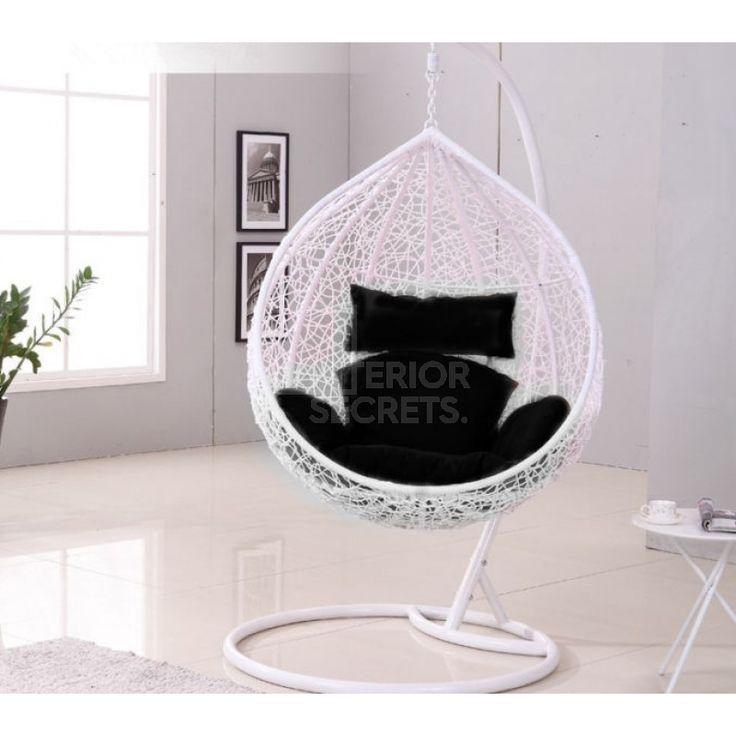 Outdoor Hanging Ball Chair Black Cushion White