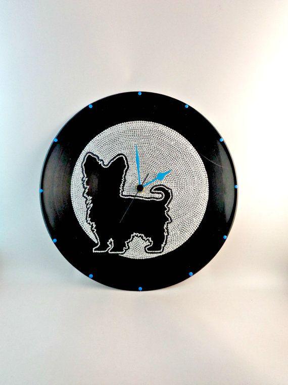 Yorkshire Terrier Dog Silhouette Vinyl Clock by InsaneDotting